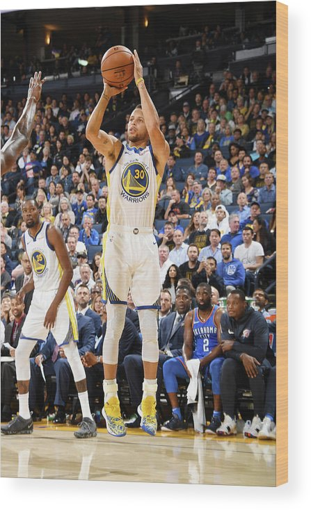 Nba Pro Basketball Wood Print featuring the photograph Stephen Curry by Andrew D. Bernstein