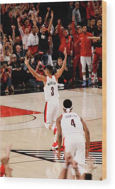 Playoffs Wood Print featuring the photograph C.j. Mccollum by Cameron Browne