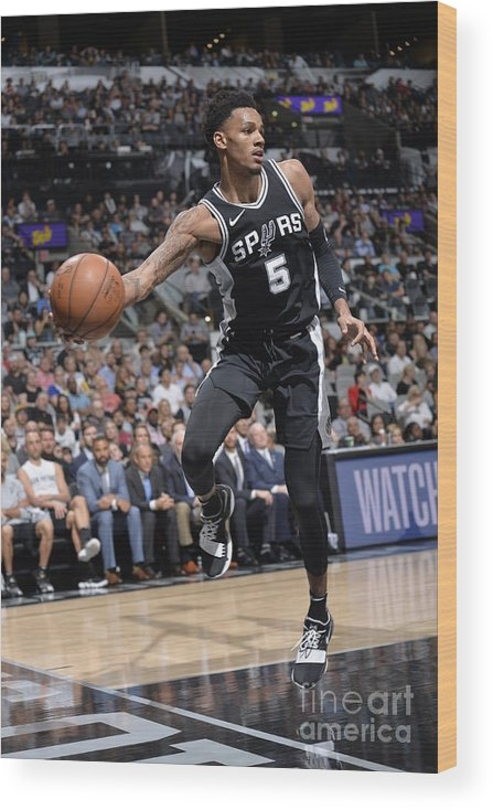 Sports Ball Wood Print featuring the photograph Dejounte Murray by Mark Sobhani