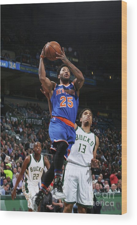 Nba Pro Basketball Wood Print featuring the photograph Derrick Rose by Gary Dineen