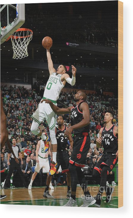 Nba Pro Basketball Wood Print featuring the photograph Jayson Tatum by Brian Babineau