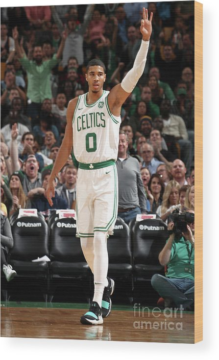 Nba Pro Basketball Wood Print featuring the photograph Jayson Tatum by Nathaniel S. Butler