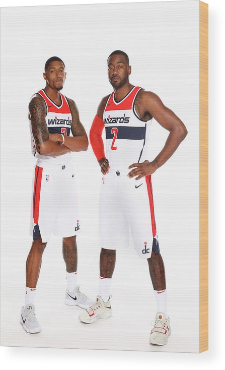 Media Day Wood Print featuring the photograph John Wall and Bradley Beal by Ned Dishman
