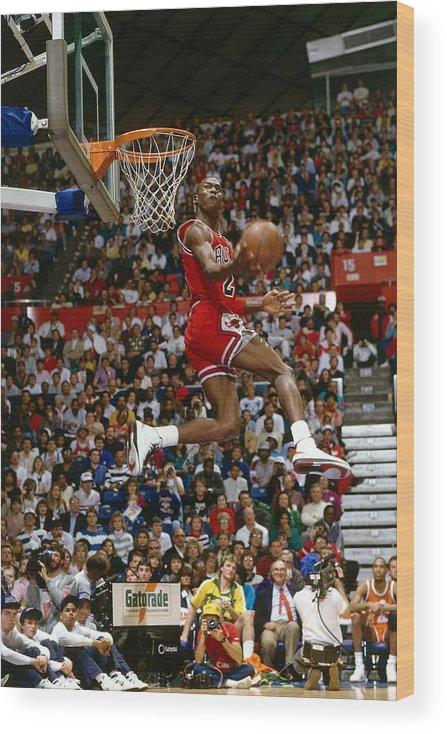 Chicago Bulls Wood Print featuring the photograph Michael Jordan by Andrew D. Bernstein