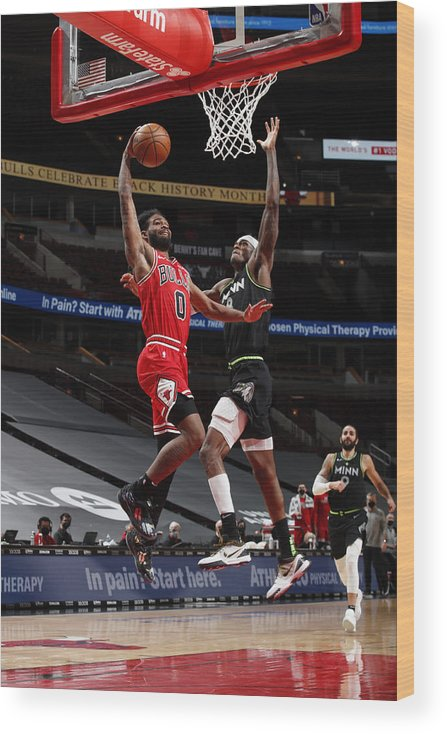 Coby White Wood Print featuring the photograph Minnesota Timberwolves v Chicago Bulls by Jeff Haynes