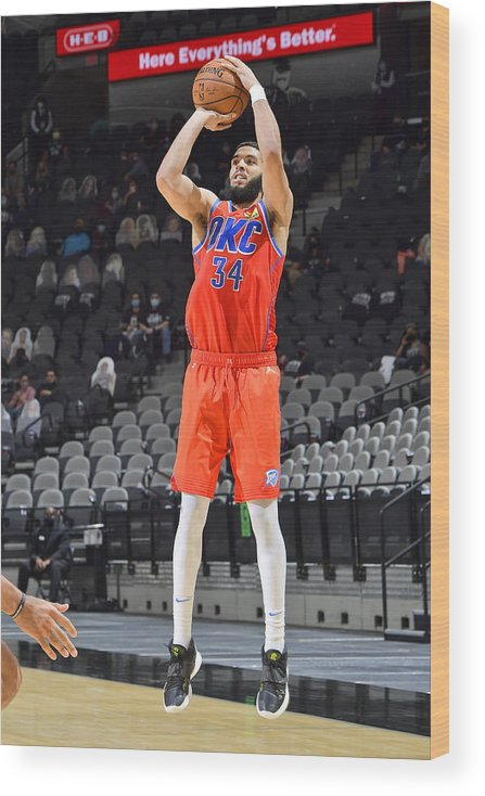 Nba Pro Basketball Wood Print featuring the photograph Oklahoma City Thunder vs. San Antonio Spurs by Logan Riely