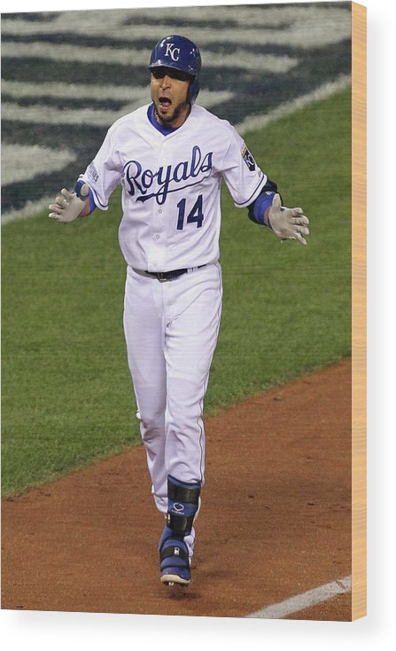 Game Two Wood Print featuring the photograph Omar Infante by Ed Zurga