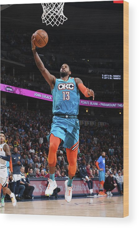 Nba Pro Basketball Wood Print featuring the photograph Paul George by Garrett Ellwood