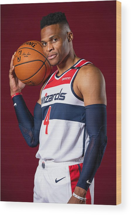 Media Day Wood Print featuring the photograph Russell Westbrook by Stephen Gosling