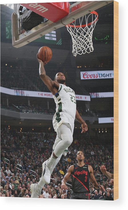 Nba Pro Basketball Wood Print featuring the photograph Sterling Brown by Gary Dineen
