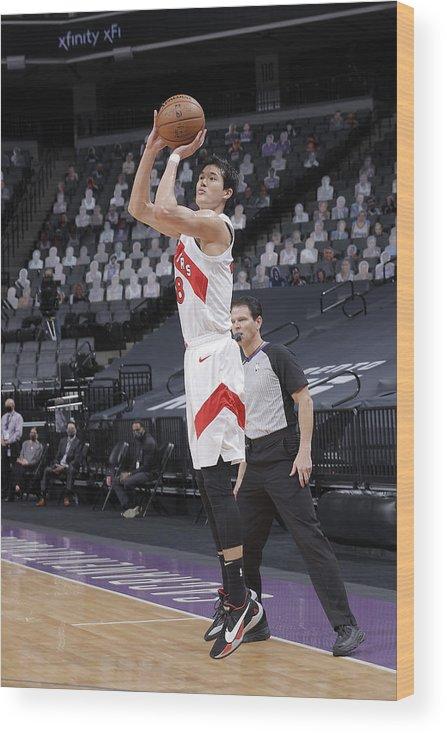 Nba Pro Basketball Wood Print featuring the photograph Toronto Raptors v Sacramento Kings by Rocky Widner