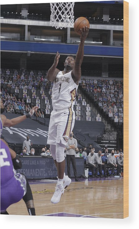 Nba Pro Basketball Wood Print featuring the photograph Zion Williamson by Rocky Widner