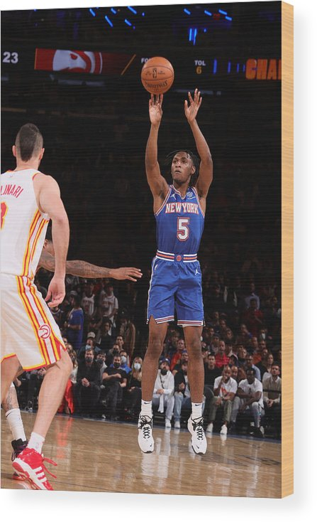 Playoffs Wood Print featuring the photograph 2021 NBA Playoffs - Atlanta Hawks v New York Knicks by Nathaniel S. Butler