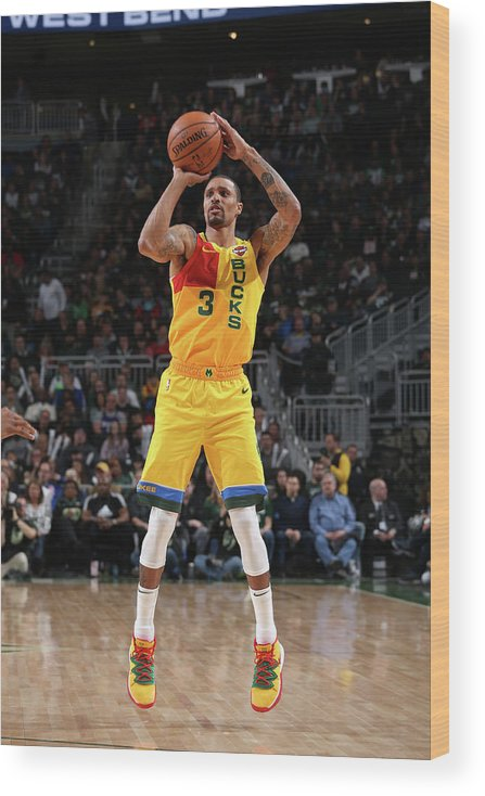 Nba Pro Basketball Wood Print featuring the photograph George Hill by Gary Dineen