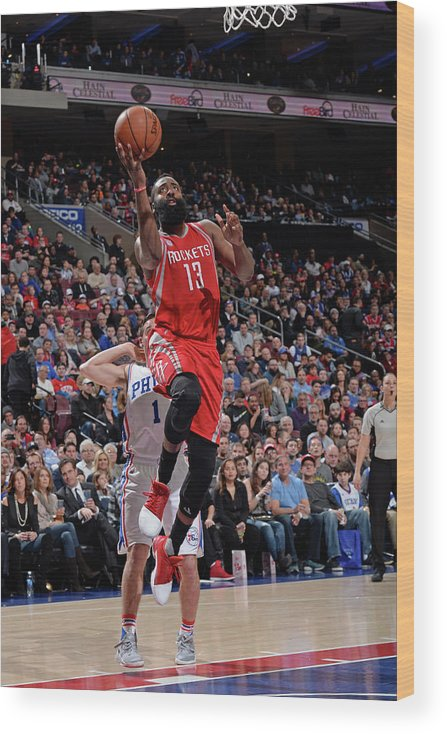 Nba Pro Basketball Wood Print featuring the photograph James Harden by David Dow