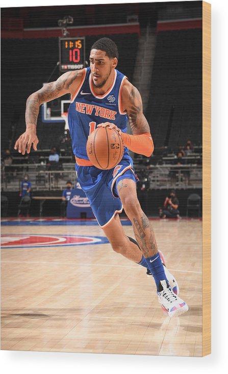 Nba Pro Basketball Wood Print featuring the photograph New York Knicks v Detroit Pistons by Chris Schwegler