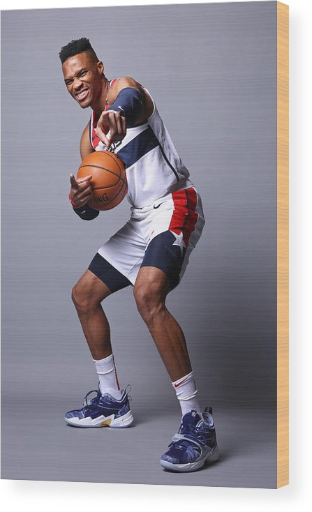 Media Day Wood Print featuring the photograph Russell Westbrook by Ned Dishman