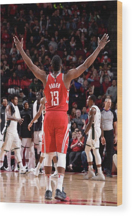 Nba Pro Basketball Wood Print featuring the photograph James Harden by Bill Baptist