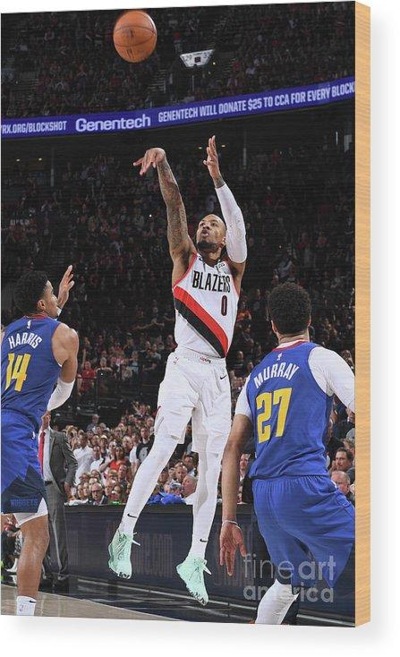 Playoffs Wood Print featuring the photograph Damian Lillard by Garrett Ellwood