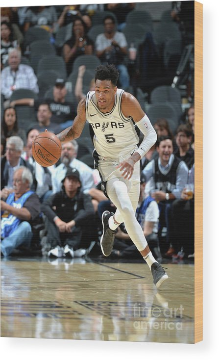 Nba Pro Basketball Wood Print featuring the photograph Dejounte Murray by Mark Sobhani