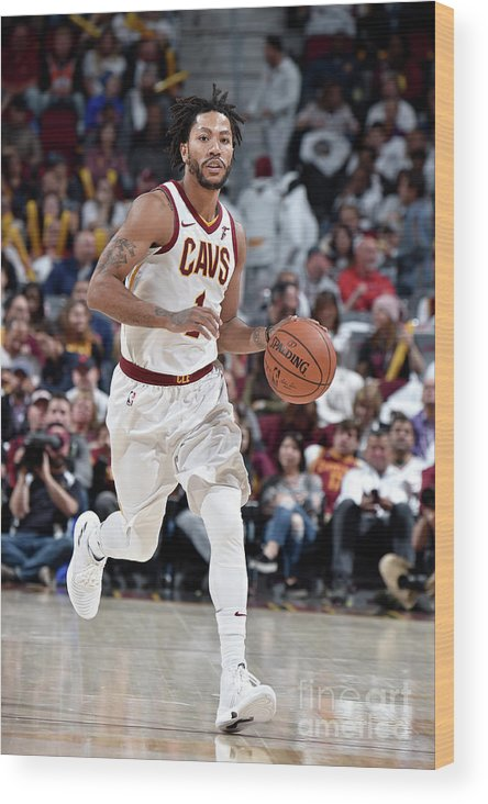 Nba Pro Basketball Wood Print featuring the photograph Derrick Rose by David Liam Kyle