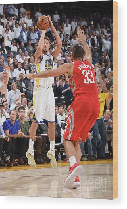 Nba Pro Basketball Wood Print featuring the photograph Klay Thompson by Andrew D. Bernstein