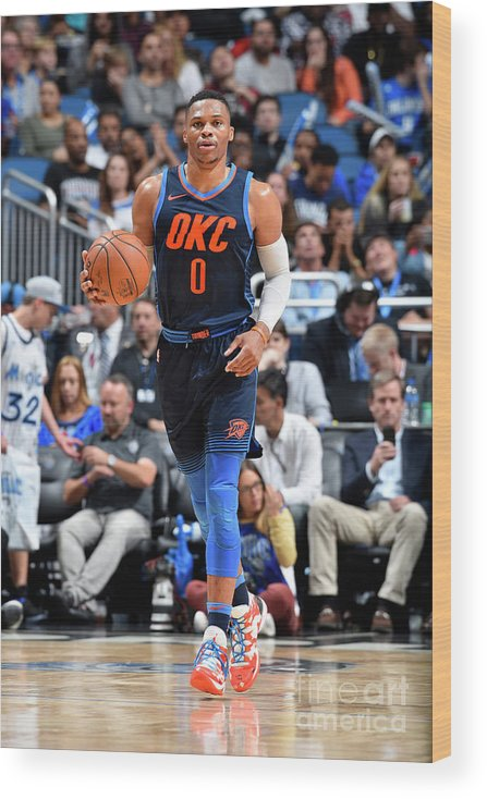 Nba Pro Basketball Wood Print featuring the photograph Russell Westbrook by Fernando Medina