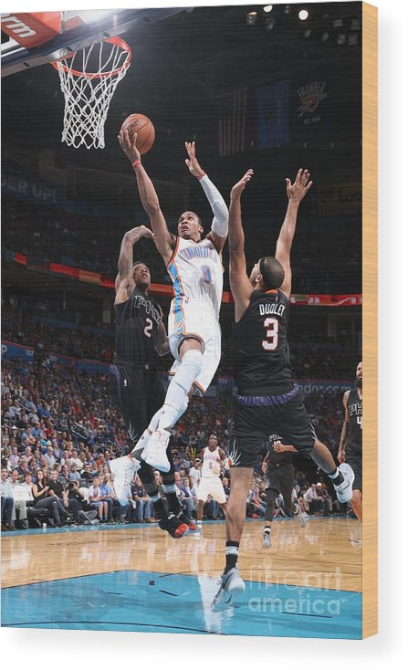 Nba Pro Basketball Wood Print featuring the photograph Russell Westbrook by Joe Murphy