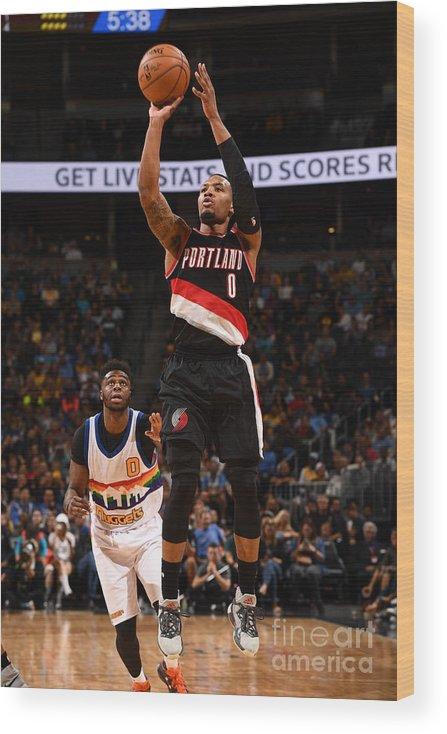 Nba Pro Basketball Wood Print featuring the photograph Damian Lillard by Garrett Ellwood