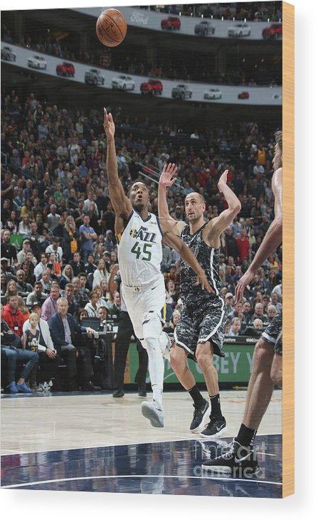 Nba Pro Basketball Wood Print featuring the photograph Donovan Mitchell by Melissa Majchrzak