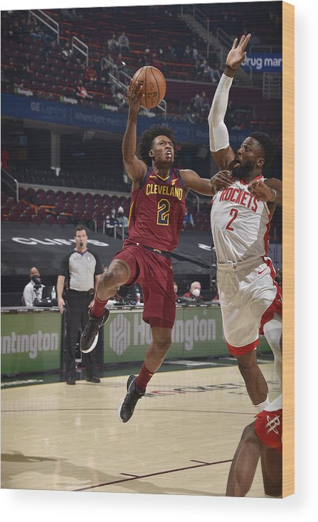 Nba Pro Basketball Wood Print featuring the photograph Houston Rockets v Cleveland Cavaliers by David Liam Kyle