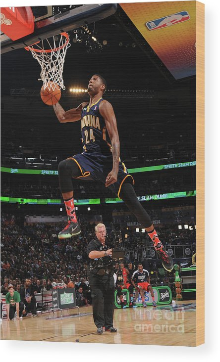 Smoothie King Center Wood Print featuring the photograph Paul George by Andrew D. Bernstein