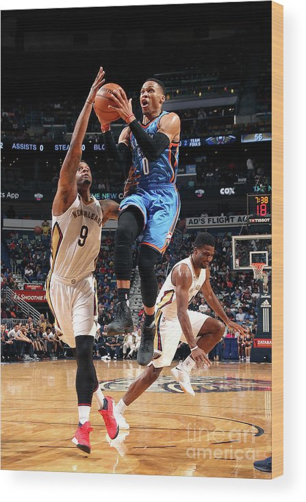 Smoothie King Center Wood Print featuring the photograph Russell Westbrook by Layne Murdoch