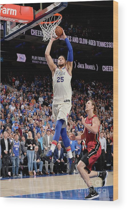 Playoffs Wood Print featuring the photograph Ben Simmons by David Dow