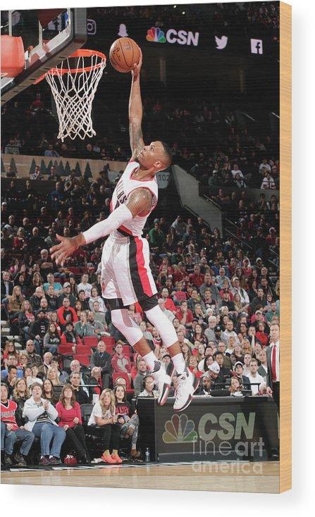 Nba Pro Basketball Wood Print featuring the photograph Damian Lillard by Cameron Browne