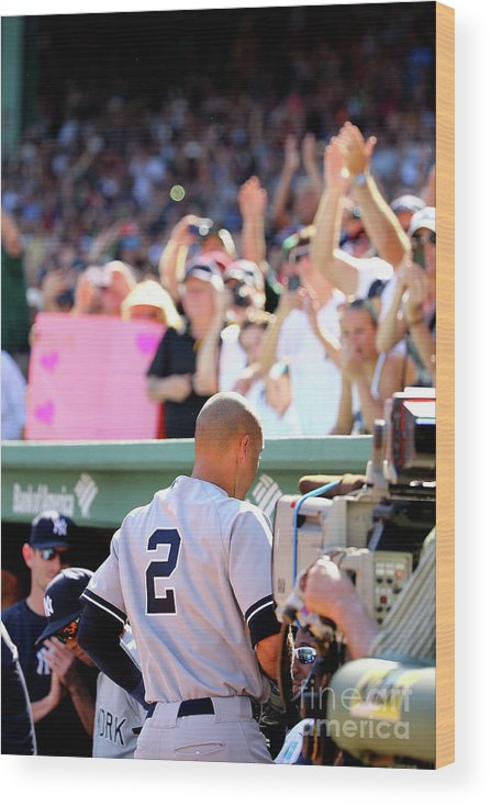 American League Baseball Wood Print featuring the photograph Derek Parks by Al Bello