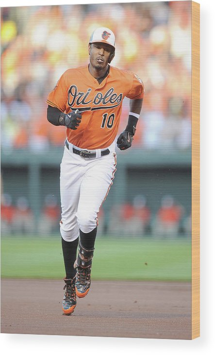 American League Baseball Wood Print featuring the photograph Adam Jones by Greg Fiume