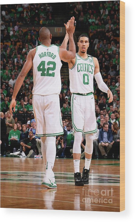 Playoffs Wood Print featuring the photograph Al Horford and Jayson Tatum by Brian Babineau