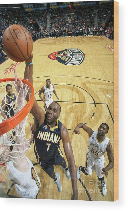 Smoothie King Center Wood Print featuring the photograph Al Jefferson by Layne Murdoch
