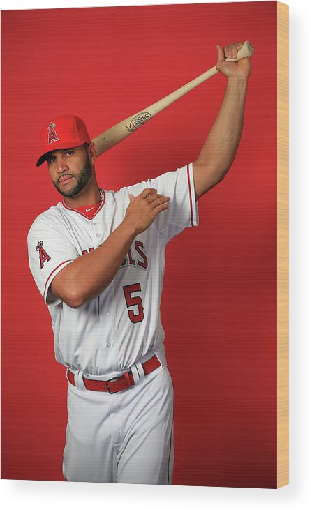 Media Day Wood Print featuring the photograph Albert Pujols by Jamie Squire