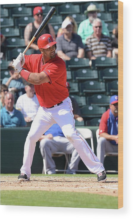 Tempe Diablo Stadium Wood Print featuring the photograph Albert Pujols by Norm Hall