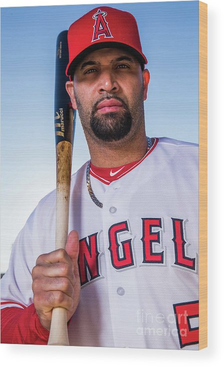 Media Day Wood Print featuring the photograph Albert Pujols by Rob Tringali