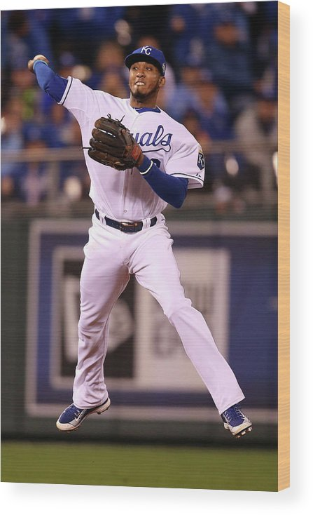People Wood Print featuring the photograph Alcides Escobar by Doug Pensinger