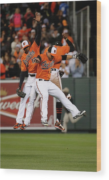 Following Wood Print featuring the photograph Alejandro De Aza, Steve Pearce, and Adam Jones by Rob Carr