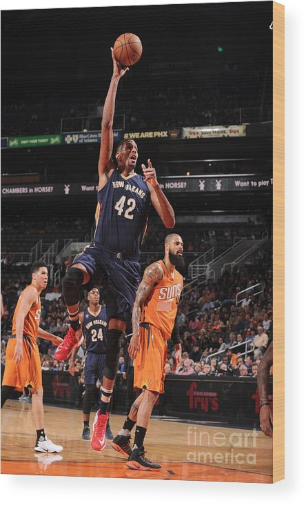 Nba Pro Basketball Wood Print featuring the photograph Alexis Ajinca by Barry Gossage