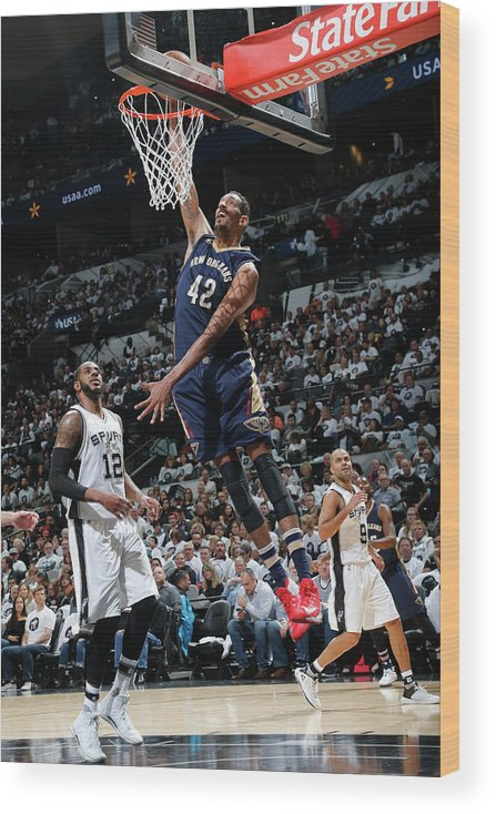 Nba Pro Basketball Wood Print featuring the photograph Alexis Ajinca by Chris Covatta