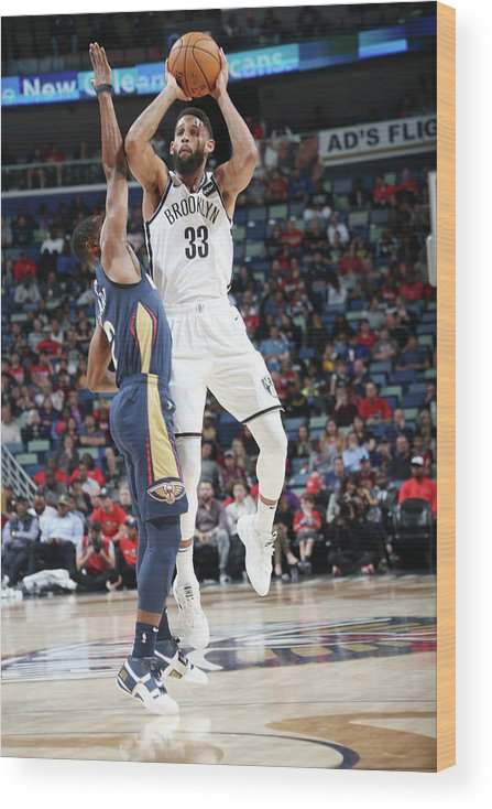 Smoothie King Center Wood Print featuring the photograph Allen Crabbe by Layne Murdoch
