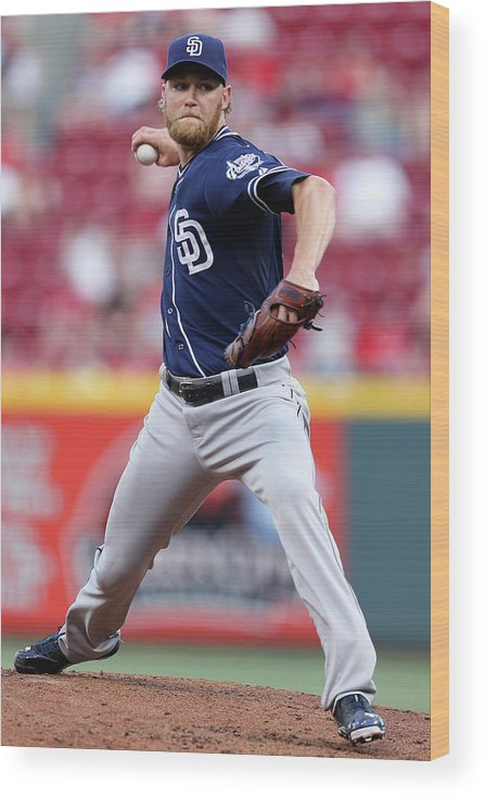 Great American Ball Park Wood Print featuring the photograph Andrew Cashner by Joe Robbins