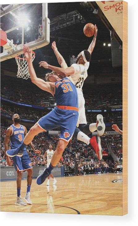 Smoothie King Center Wood Print featuring the photograph Anthony Davis and Ron Baker by Layne Murdoch