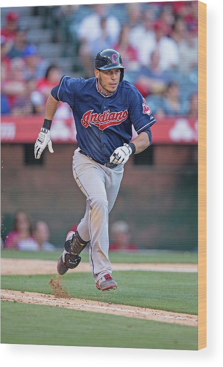American League Baseball Wood Print featuring the photograph Asdrubal Cabrera by Paul Spinelli